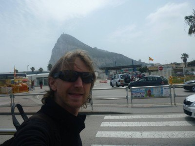 Leaving the Spanish side of the border at La Linea de La Concepcion