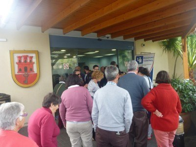 The queue at the border control in Gibraltar