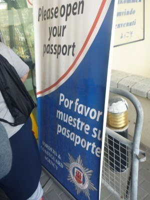 Passport sign on the entry to Gibraltar