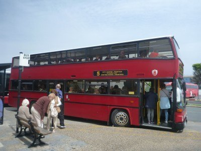 A local bus at the border in Gibraltar