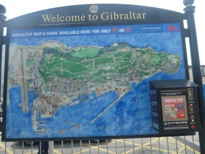 A map on arrival into Gibraltar