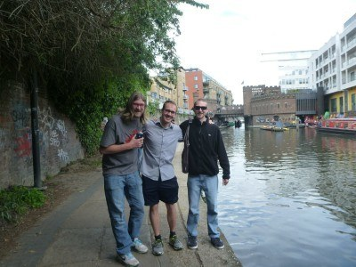 James, Neil and I touring the canals of London