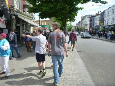 James and Neil walking through Camden Town, London, England