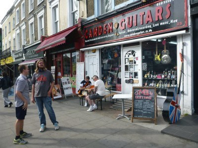 James outside a guitar shop in Camden Town