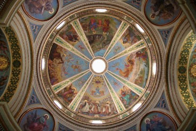 The painted ceiling in Stella Maris Monastery, Haifa