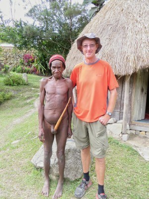 World Traveller Graham Askey making friends with the locals in West Papua,