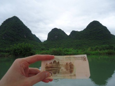 Views from our bamboo boat trying to find the 20 Yuan note background
