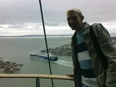 Enjoying the views from the top of the Spinnaker Tower in Portsmouth