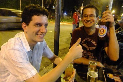 Rodrigo and Mattheus drinking the night away in Sao Paulo