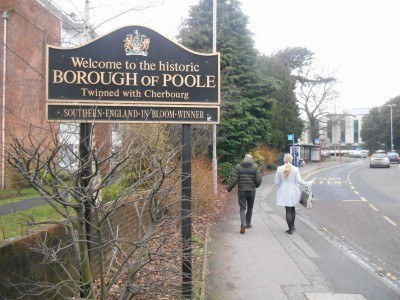 The entrance sign to Poole at Westbourne, County Gates (This photo was taken from Bournemouth)