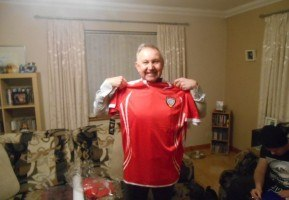 My Dad and his UAE football shirt, fresh from Dubai