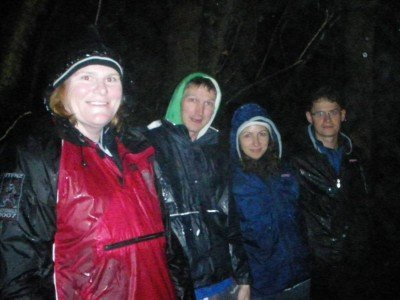 On the glow Worm trek while backpacking in New Zealand