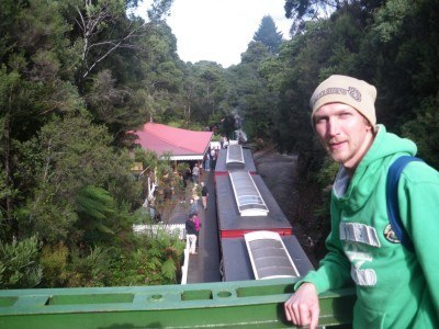 Chilling out on the bridge at Rinadeena in Tasmania.