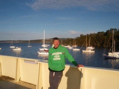 Lonely backpacking days on the Kettering to Bruny Island ferry in 2010