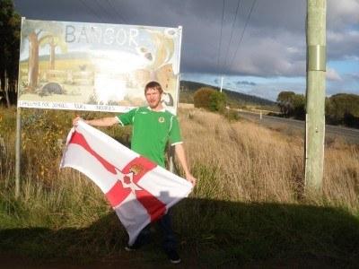 Northern Irish man at Bangor Farm in Tasmania