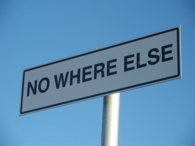 The signpost for No Where Else