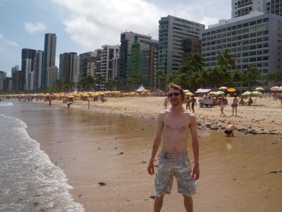 The whitest and skinniest man on Recife Beach!