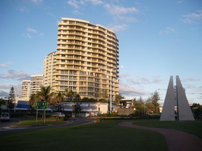 The border monument in Tweed Heads between NSW and Queensland