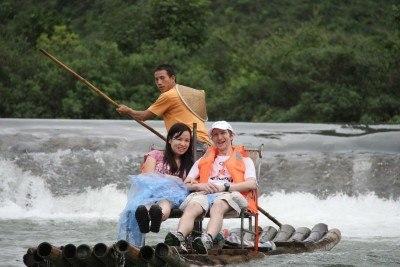 Bamboo rafting on the Yulong River near Yangshuo
