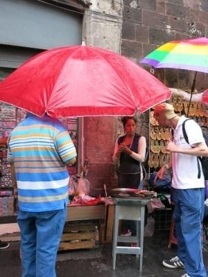 Grabbing Mexican food in Mexico City