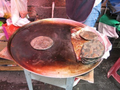 Blue tortillas getting baked in Mexico City
