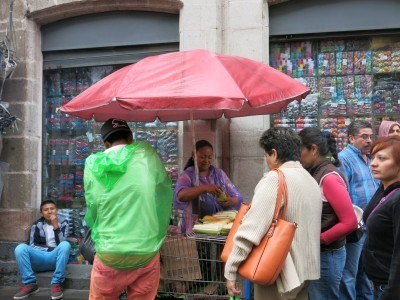 At a street food market in Mexico City