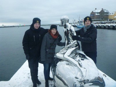 The little merman (he has silver balls) by the harbour in Helsingor