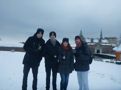 Having a beer in the snow at Kronborg Castle!