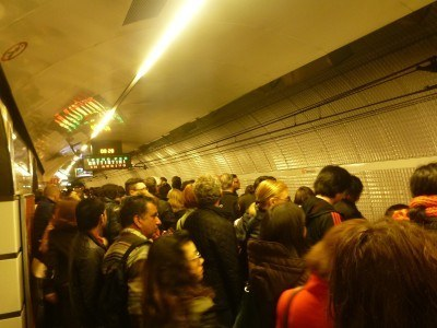 Rush hour on the Rome Metro system