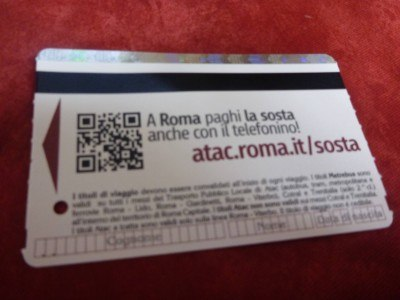 My day ticket for the Rome Metro