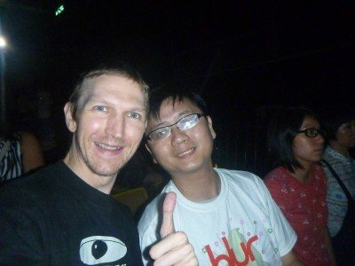 Tempo Cheng and I rocking the Blur gig in Hong Kong