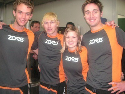 With Garth, Ali and Andy Zorbing in Rotorua in 2007
