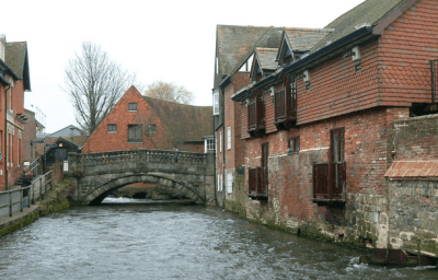The pretty river in idyllic Winchester, Hampshire