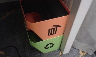 Recycle bins in the room