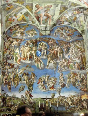 The ceiling and walls of the Sistine Chapel
