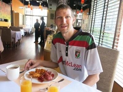 Enjoying my breakfast in the Dorsett Mong Kok