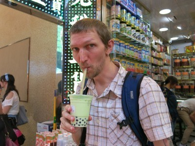 Trying the melon Taiwanese style milky tea in Mong Kok