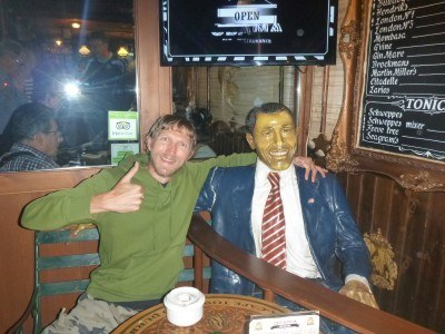 Having a beer with the President.