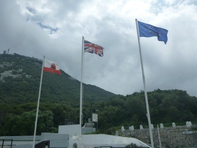 Gibraltar Flag, British Union Flag and EU Flag together