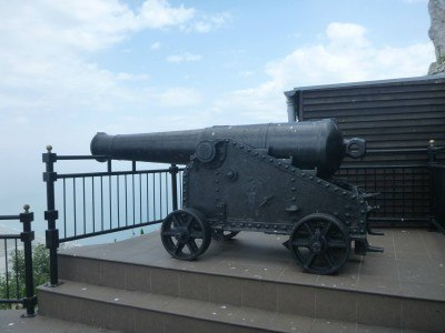 A cannon at the Great Siege Tunnels in Gibraltar
