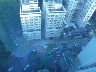 The view down from our room onto Cameron Road in Yau Ma Tei
