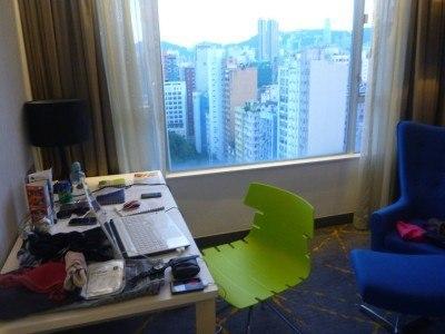 My blogging desk in the City View - fast WiFi