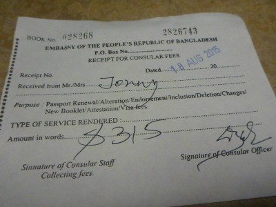 Receipt of visa collection