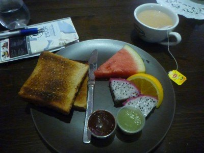 Breakfast at Green Kiwi Hostel, Singapore