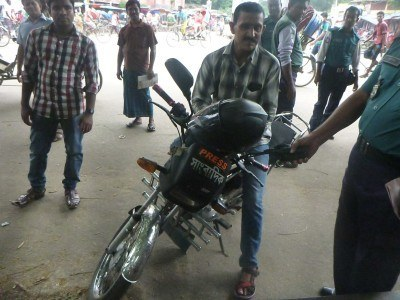 Khan on his motorbike