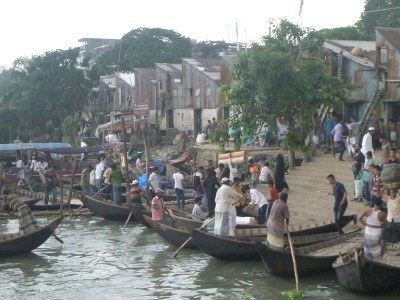 Boatsmen at Sadarghat by the Buriganga River in Dhaka