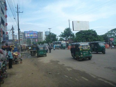 The Golden Inn is on this street in Chittagong near the train station.