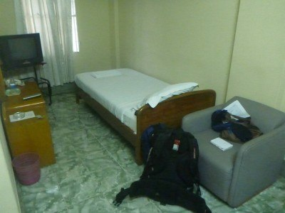 My cosy room at the Golden Inn in Chittagong, Bangladesh