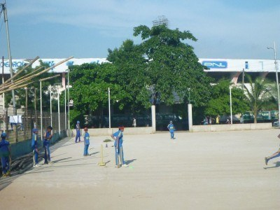 Locals playing cricket in Chittagong