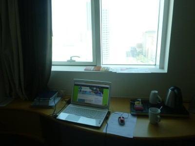 My blogging desk in the Hotel Ibis Seef Manama in Bahrain